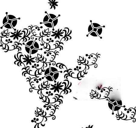 黑白植物剪影墙纸