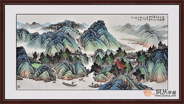 客厅沙发墙挂画推荐三:国画家吴大恺写意山水画作品《春山泛舟图