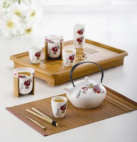 品茶唯美手绘图